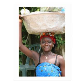 "Postcard, ""Woman with Basket"" # 1202 Postcard"