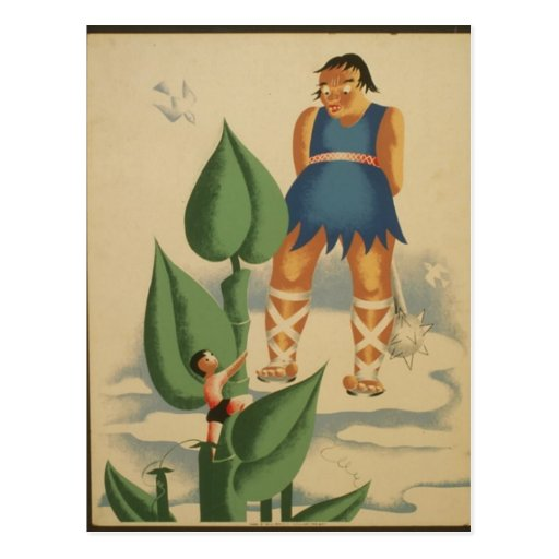 Postcard-WPA-Jack and the Beanstalk Postcard