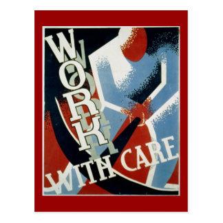 Postcard-WPA-Work with Care Postcard