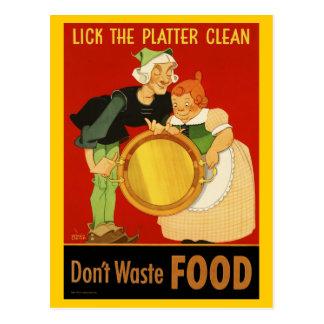 Postcard: WWII Lick the Platter Clean Postcard