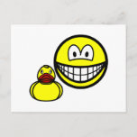 Rubber duck smile playing  postcards