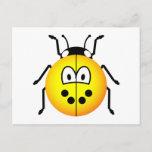 Lieveheersbeestje emoticon geel  postcards