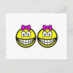 Identical twins smile Girls  postcards