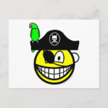 Pirate with parrot smile   postcards