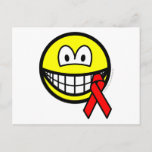 Aids awareness smile Red ribbon  postcards