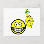 Reminder smile string around finger  postcards