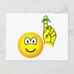 Reminder emoticon string around finger  postcards