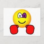 Boxing emoticon Black eye  postcards