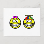 Brother and sister smile   postcards