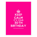 [Crown] keep calm it's your 30th birthday  Postcards