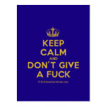 [Dancing crown] keep calm and don't give a fuck  Postcards