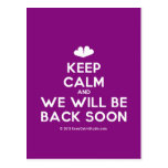 [Two hearts] keep calm and we will be back soon  Postcards