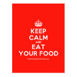 [Crown] keep calm and eat your food  Postcards