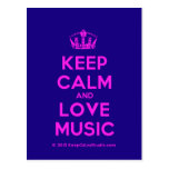 [Dancing crown] keep calm and love music  Postcards