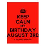 [Crown] keep calm my birthday august 3rd  Postcards