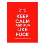 [UK Flag] keep calm and run like fuck  Postcards