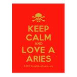 [Skull crossed bones] keep calm and love a aries  Postcards