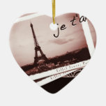 Postcards from Paris Bonjour Custom Ornament