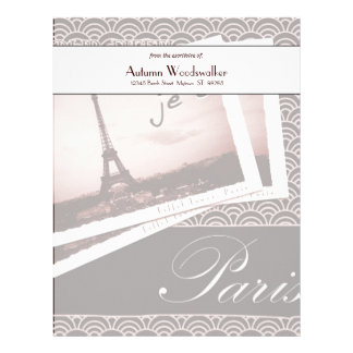 Postcards from Paris Personalized Paper Customized Letterhead