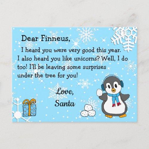 Postcards from Santa Holiday Penguin  Snowballs
