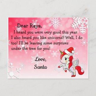 Postcards from Santa: Red Unicorn in Santa Hat