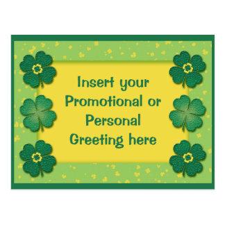 Postcards template - customizable shamrocks