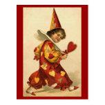 Postcards - Valentine clown hearts harlequin