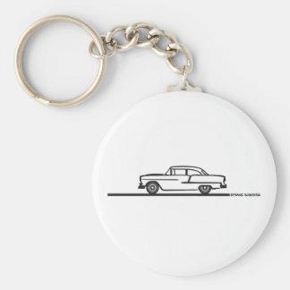 Poste 1955 de Chevy Hardtop Llavero Redondo Tipo Pin