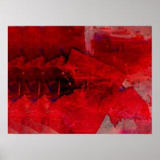 Poste abstracto rojo moderno del arte contemporáne