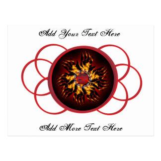 Poste ardiente rojo y negro de Starburst de la Tarjeta Postal