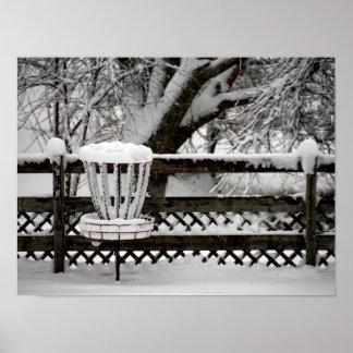 Poste de la meta del golf del disco en nieve impresiones
