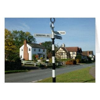 Poste de muestra del pueblo de Weobley Tarjeton