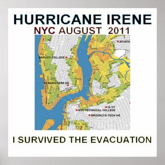 Poste del mapa de la evacuación de Irene New York  Póster