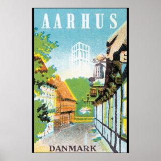 Poste del viaje del vintage de Aarhus Danmark Póster