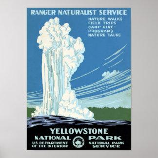 Poste del vintage de Yellowstone del servicio del Póster