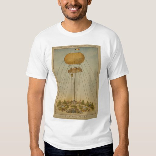 Poste del vintage del globo del castillo de aire d playera