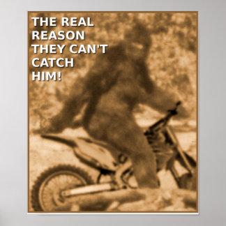 Poste divertido del pie grande de la bici de la su impresiones