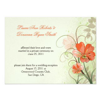 """Poste floral abstracto verde coralino W del Invitación 5.5"""" X 7.5"""""""