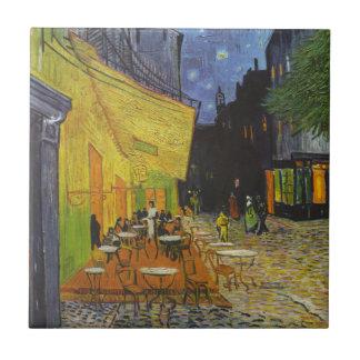 Poste-Impresionista de la terraza del café de Van Azulejo Cuadrado Pequeño