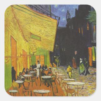 Poste-Impresionista de la terraza del café de Van Pegatina Cuadrada
