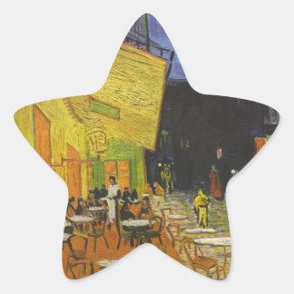 Poste-Impresionista de la terraza del café de Van Pegatina En Forma De Estrella
