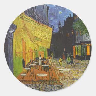 Poste-Impresionista de la terraza del café de Van Pegatina Redonda