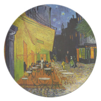 Poste-Impresionista de la terraza del café de Van Plato Para Fiesta
