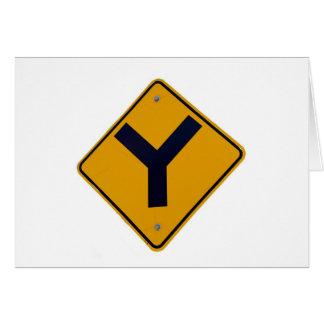Poste indicador del amarillo del empalme de Y Tarjeta De Felicitación