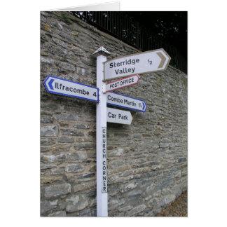 Poste indicador en Berrynarbor, Devon del norte, Tarjeta De Felicitación