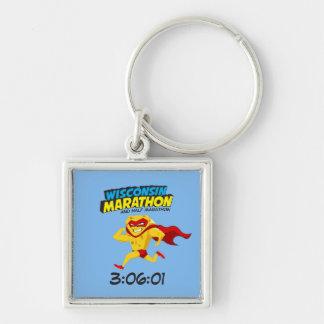 Poste-Maratón del maratón de Wisconsin Llavero Cuadrado Plateado
