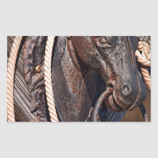Poste que engancha y cuerda del caballo de hierro pegatina rectangular