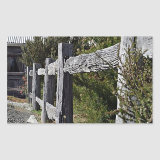 Poste y cerca de carril pegatina rectangular