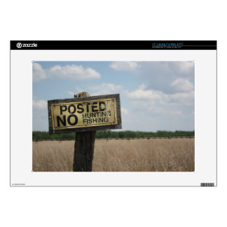 Posted Sign No Hunting,  No Fishing Zazzle Skin Skins For Laptops