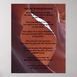 """Poster 11"""" de la bendición del boda de Apache x Póster"""